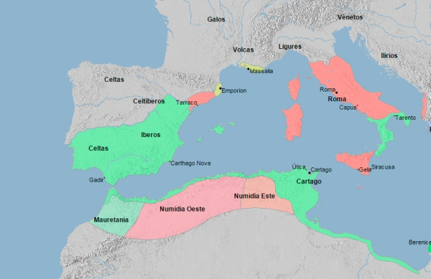 El Mediterraneo Occidental en 210 a. C.