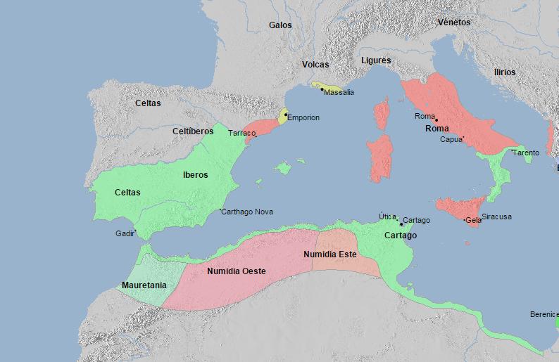 El Mediterraneo Occidental en 210 a. C.